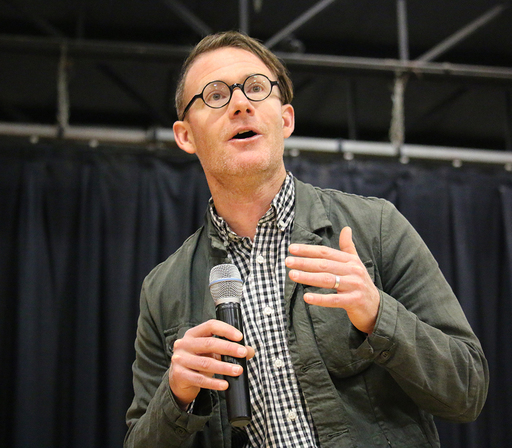 Author Jonathan Mooney delivers lecture