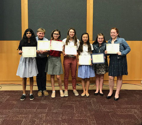 Middle School students receive honors in writing contest