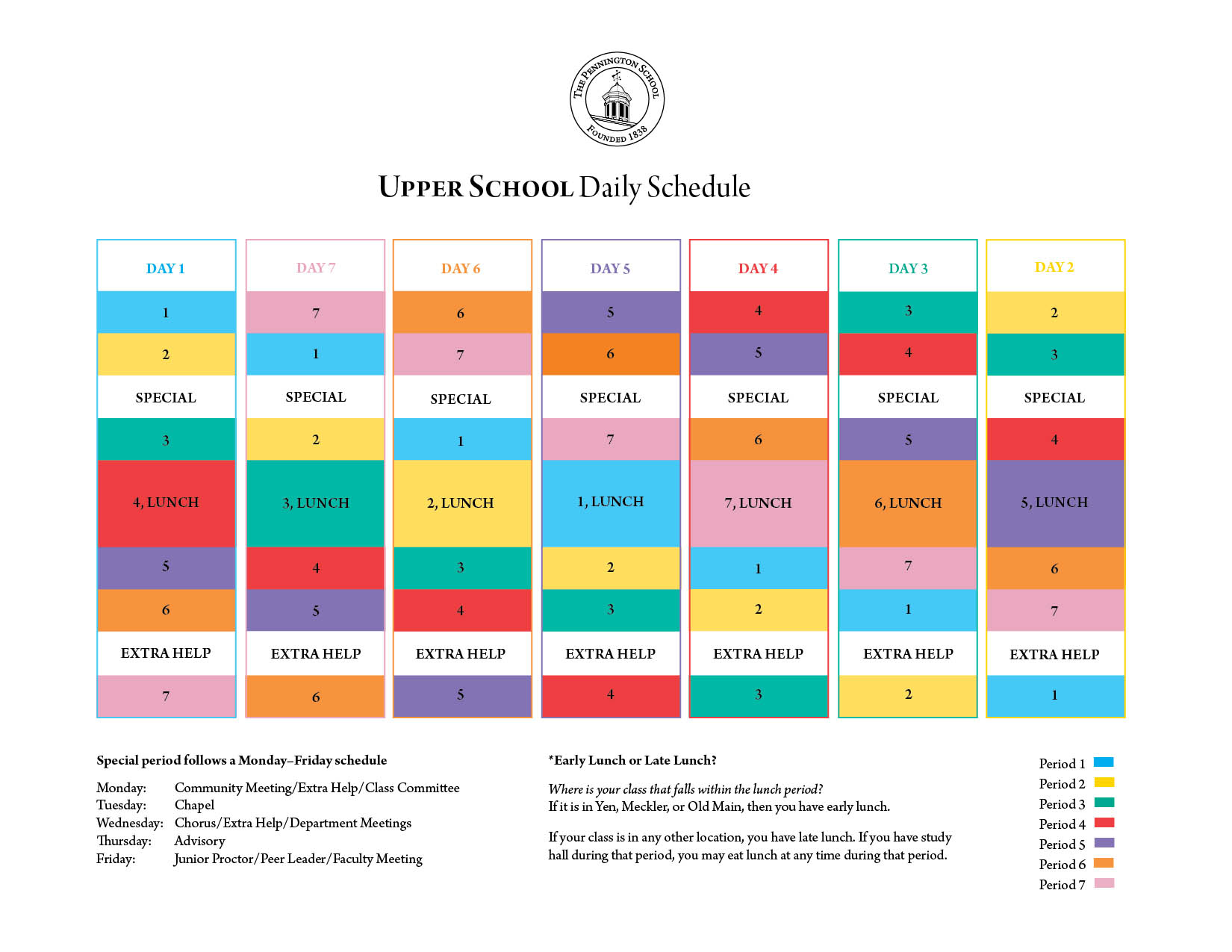 Upper School daily schedule