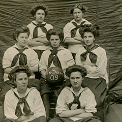Black and white vintage photo of a group of females.