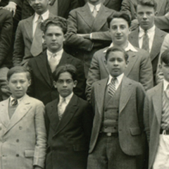 Black and white vintage photo of a group of males international students.