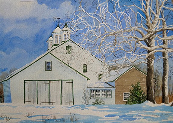 Snowy scene with house and trees